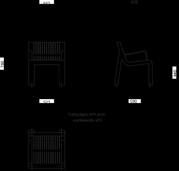 Plan Chaise ALTITUDE - version avec accoudoirs