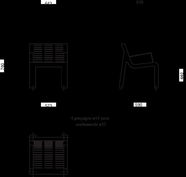Plan Chaise AZIMUT - version avec accoudoirs