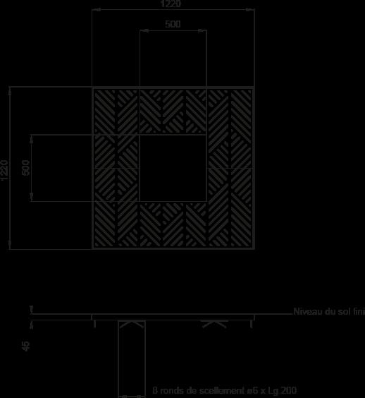 Plan Grille d'arbre FRANCIS 1200 x 1200