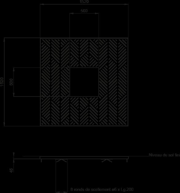 Plan Grille d'arbre FRANCIS 1500 x 1500