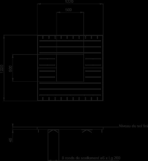 Plan Grille d'arbre VARIO 1200 x 1200