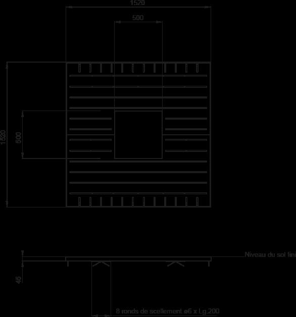 Plan Grille d'arbre VARIO 1500 x 1500